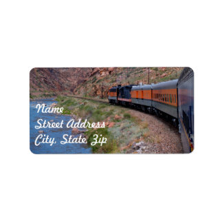 Train in Canyon Background Address Sticker Label