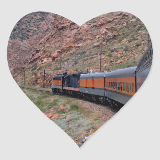 Train in Canyon Background Heart Sticker