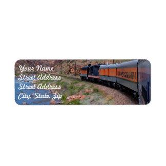 Train in Canyon Background Return Address Sticker Label