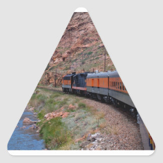 Train in Canyon BackgroundTriangle Sticker