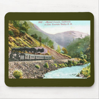 Train in Merced Canyon, CA Vintage Mouse Pad