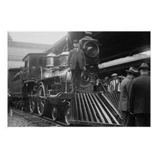 Train in Station Vintage Print