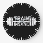 Train Insane - Barbell, Gym, Workout Inspirational Large Clock