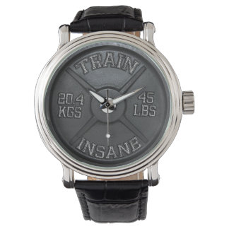 Train Insane (Barbell Plate) Workout Motivational Wristwatch