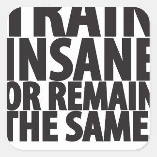 Train insane or remain the same square sticker