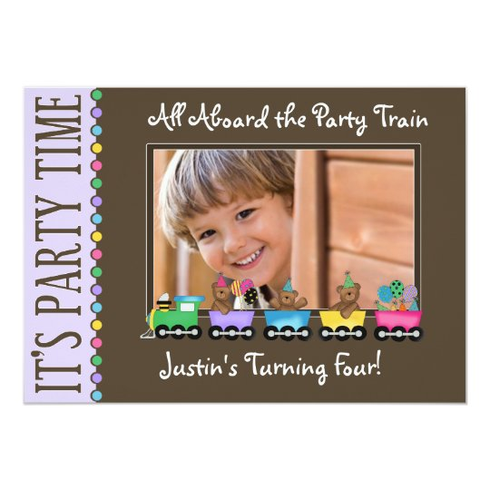 Train Kid's Birthday Party Invitation