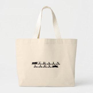 Train lady model railroading canvas bag