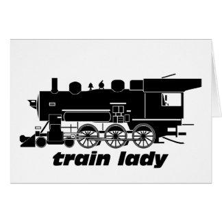 Train lady model railroading greeting card