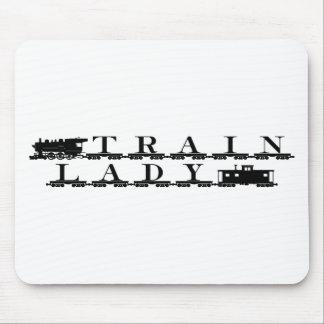 Train lady model railroading mouse pad