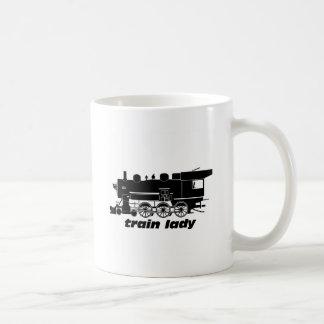 Train lady model railroading classic white coffee mug