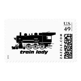 Train lady model railroading stamp