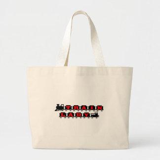 Train lady model railroading tote bags