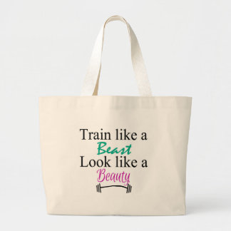 Train like a beast large tote bag