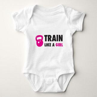 Train Like A Girl With Kettlebell Baby Bodysuit