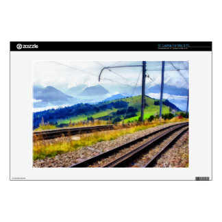"""Train lines and landscape 13"""" laptop decal"""