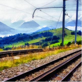 Train lines and landscape cutout