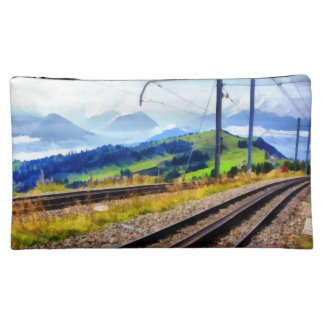 Train lines and landscape makeup bag