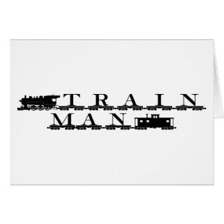 Train man model railroading greeting card