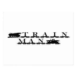 Train man model railroading postcard
