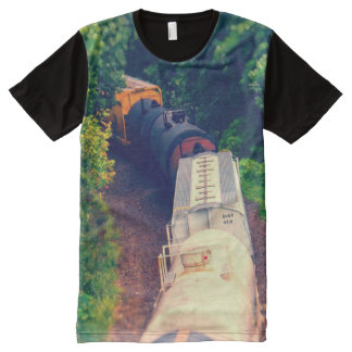 Train Moving through Trees, Tilt-Shift All-Over Print Shirt