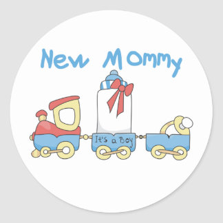 Train New Mommy It's a Boy Classic Round Sticker