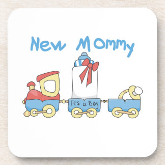 Train New Mommy It's a Boy Gifts Drink Coaster