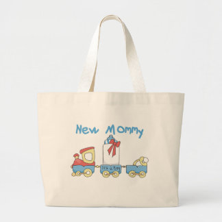 Train New Mommy It's a Boy Large Tote Bag