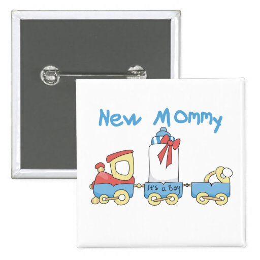 Train New Mommy of Boy tshirts and Gifts Pinback Buttons