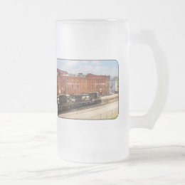Train - Now Arriving in Roanoke Virginia Frosted Glass Beer Mug
