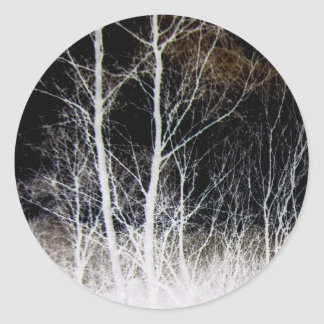 Train of Thought Black & White Forest Landscape Classic Round Sticker