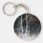 Train of Thought Black & White Forest Landscape Keychains