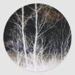 Train of Thought Black & White Forest Landscape Round Sticker