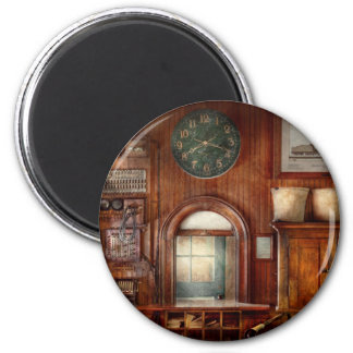 Train - Office - The ticket takers window 2 Inch Round Magnet