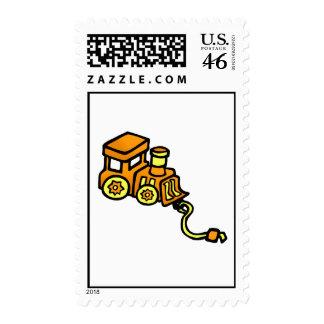 train orange postage stamps