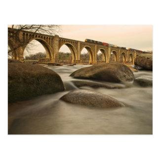 Train over James River Postcard