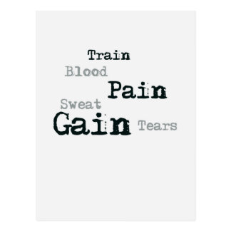 Train pain gain fitness postcard