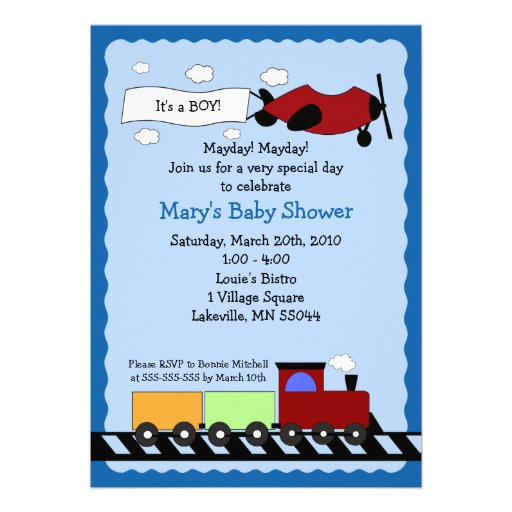 Train & Plane 5x7 cute boy baby shower invitation