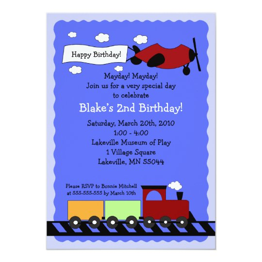 Train & Plane 5x7 cute boy birthday invitation