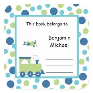 Train Plane Book Plate Label Blue Green Dot sticker
