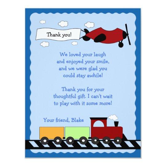 Train & Plane Flat Thank you card 4x5