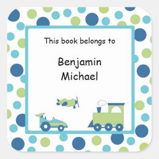 Train Plane Race car Book Label Blue Green Dot Square Sticker