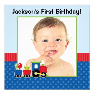 Train Polka Dot 1st Birthday Boy Photo Invite