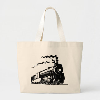Train Print Large Tote Bag