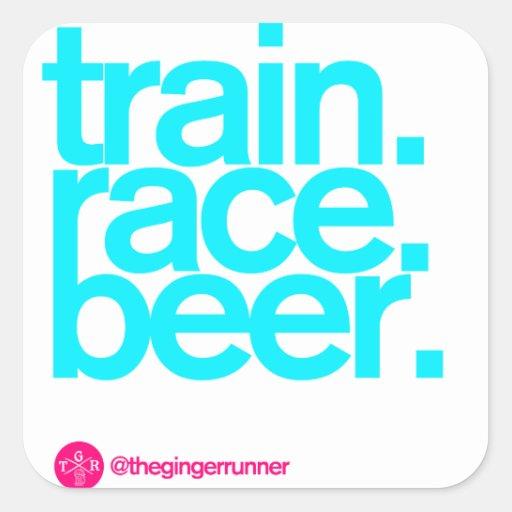 "TRAIN.RACE.BEER. 3"" Stickers"