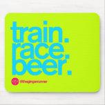 TRAIN.RACE.BEER. Mousepad Tapetes De Ratón