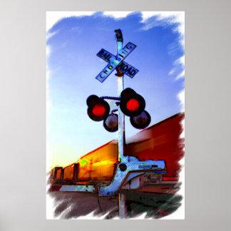 Train Racing Through Town Poster
