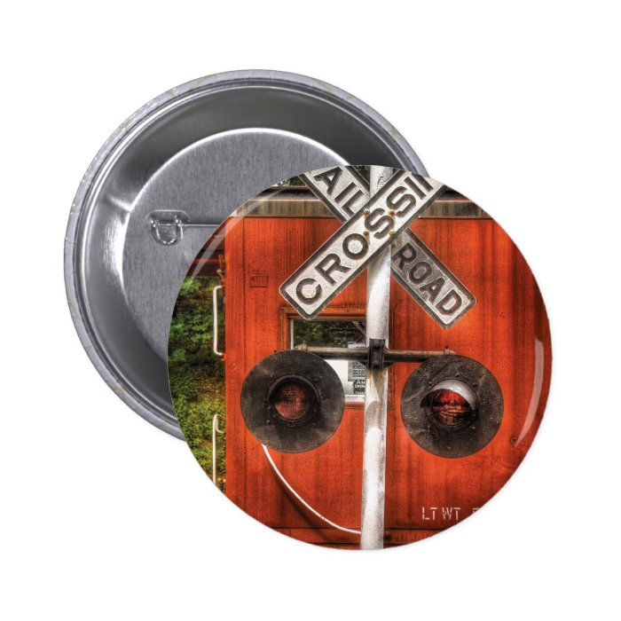 Train - RailRoad Crossing Pinback Button