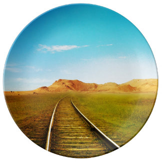 Train railway nature scenery porcelain plate