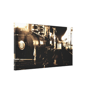 Train ready to depart station stretched canvas print