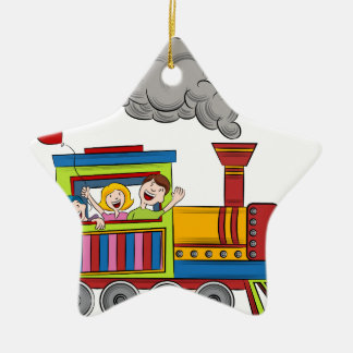 Train Ride Children Double-Sided Star Ceramic Christmas Ornament